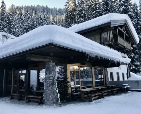Mountain Hut in the Arlberg covered with snow